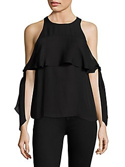 e0d5c1c3b00b26 Penelope Silk Knotted Cold Shoulder Top BLACK. QUICK VIEW. Product image