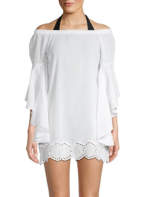 PILYQ | Eyelet-Trimmed Cotton Mini Cover-Up Dress | Goxip