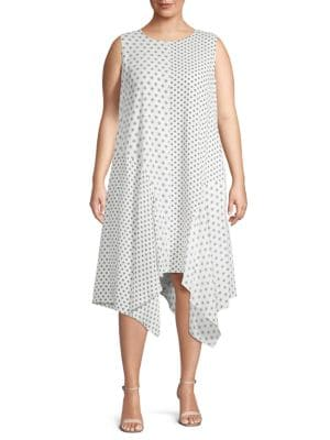 Plus Diamond Edge Geo-Print Dress in Pearl Ivory