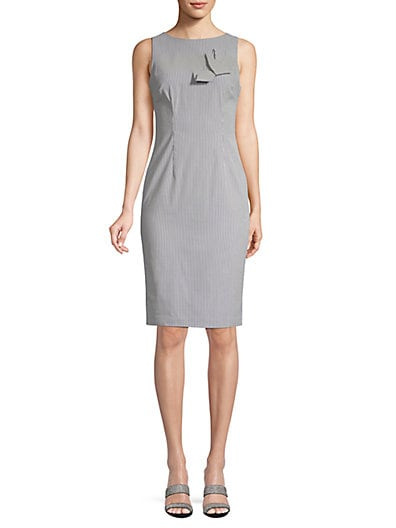347869910b9 Calvin Klein Pinstripe Bow Sheath Dress ...