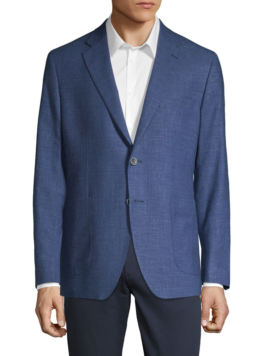 Saks Fifth Avenue Made in Italy Classic-Fit Wool Silk Linen Sport Jacket