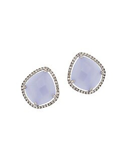 44c785f42 QUICK VIEW. Meira T. 14K White Gold, Blue Opal & Diamond Stud Earrings