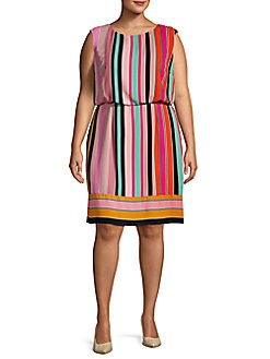 e33847d4394 QUICK VIEW. Adrianna Papell. Plus Multicolored Cap-Sleeve Dress
