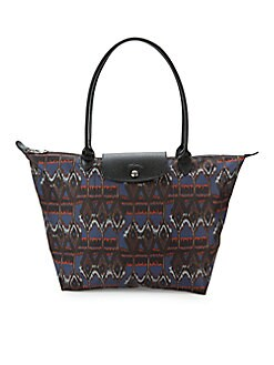 14ef23342df8 QUICK VIEW. Longchamp. Leather-Trimmed Printed Tote