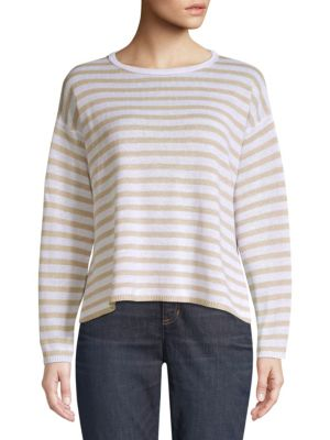 Eileen Fisher Striped Organic Linen Sweater In Natural