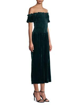 Parker Suits Londyn Velvet Off-The-Shoulder Crop Jumpsuit