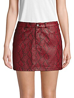 a67252f171 Snakeskin Faux Leather Mini Skirt RED. QUICK VIEW. Product image