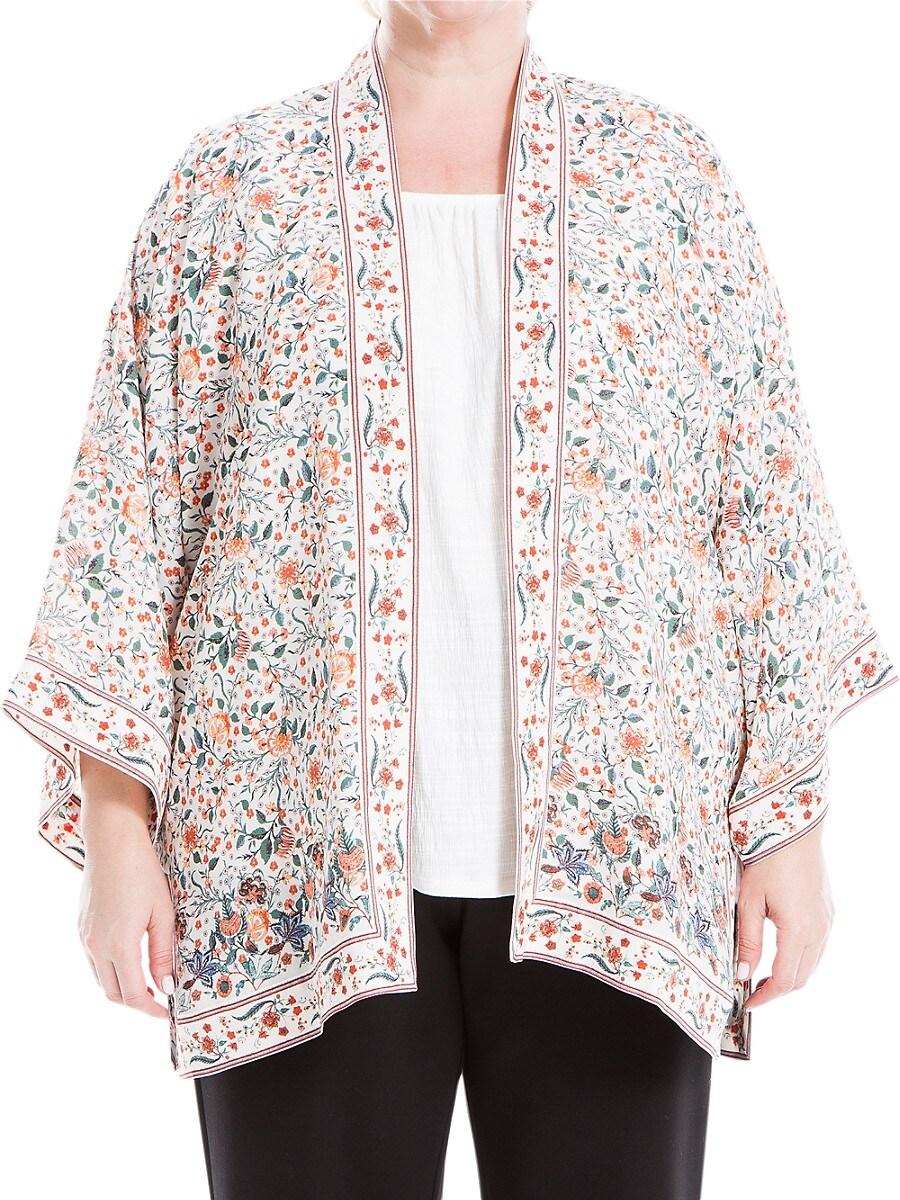 Women's Plus Printed Open-Front Kimono