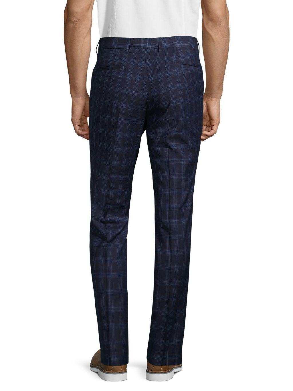 NHP Plaid Flat-Front Pants