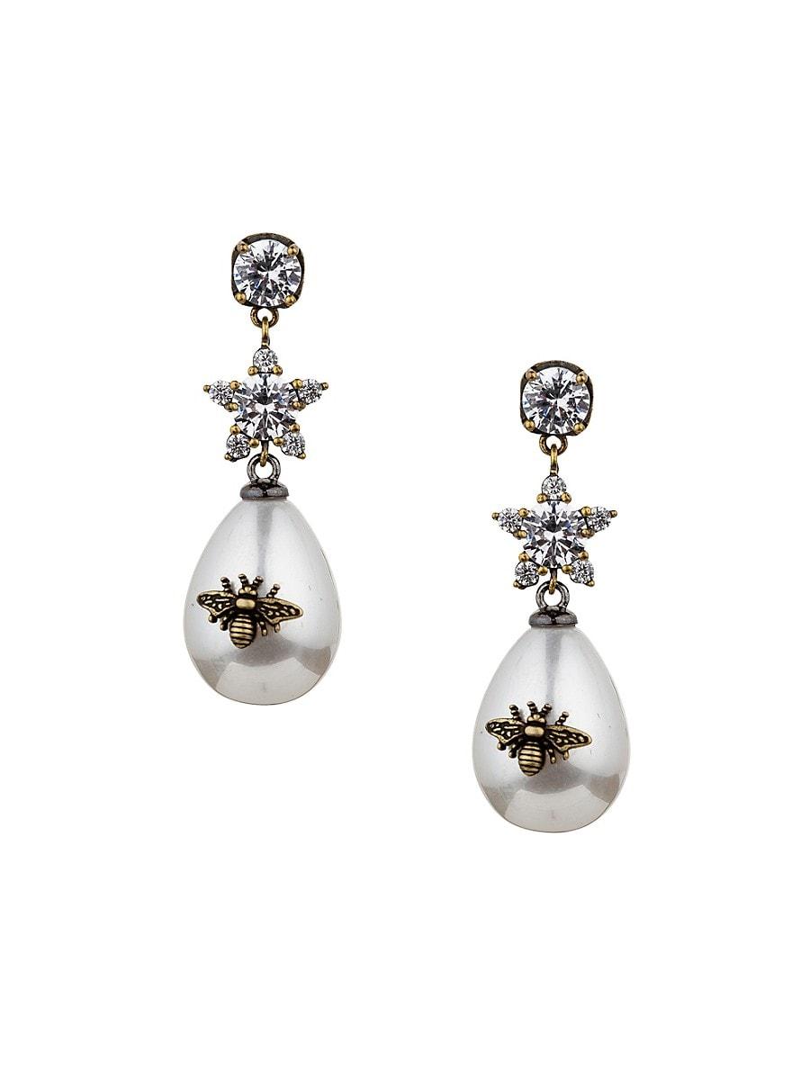 Women's Luxe Queen Bee 19MM Man Made Pearl Drop Earrings