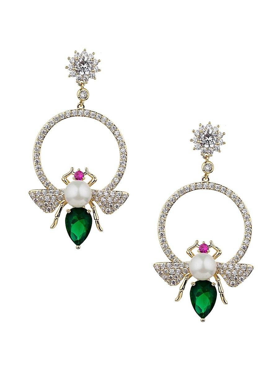 Women's Luxe Glam Bee 12.5MM Man Made Pearl Drop Earrings