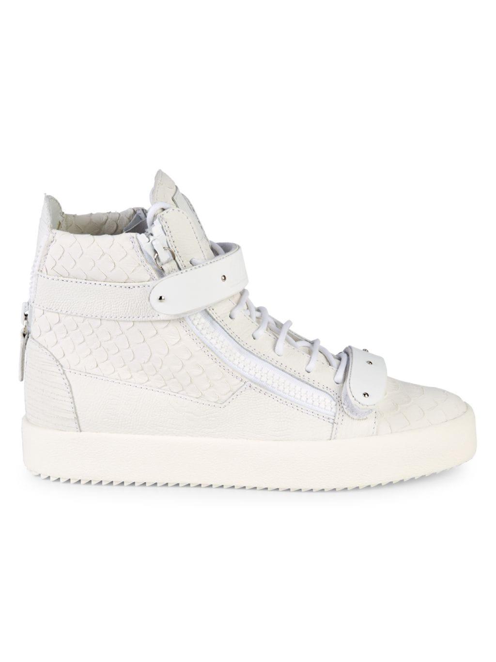 Giuseppe Zanotti Embossed Snakeskin-Print Leather High-Top Sneakers