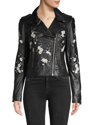 Lamarque Donna Floral Leather Jacket In Black