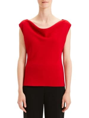 a641cfa9df Theory Draped Bateau Neck Top In Peppercorn. SIZE & FIT INFORMATION