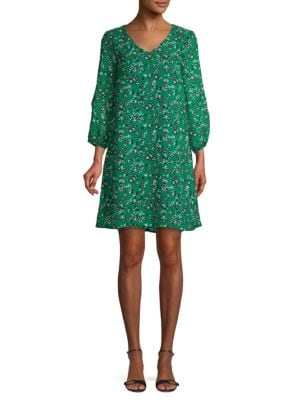 Abs By Allen Schwartz V-Neck Floral Shift Dress In Emerald