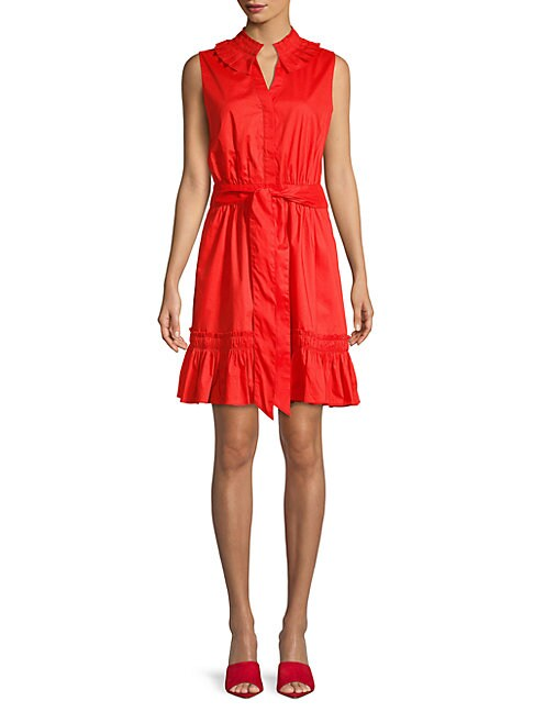 Abs By Allen Schwartz PLEATED COLLAR BUTTON-FRONT DRESS