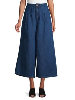 Free People Jeans Cropped Wide-Leg Jeans