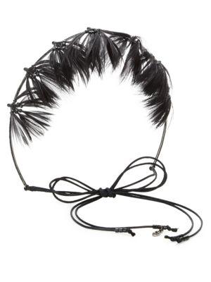 Valentino Garavani Glam Feather Crown Hairband In Black