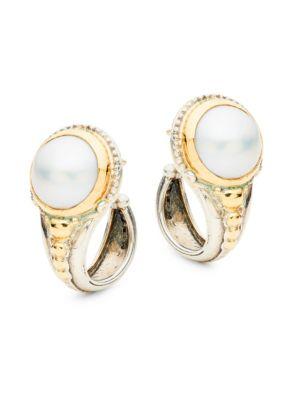 Konstantino Sterling Silver & 18K Gold Faux Pearl Hoop Earrings