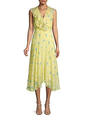 Silk Blend Ruffled Floral Midi Dress by Saloni