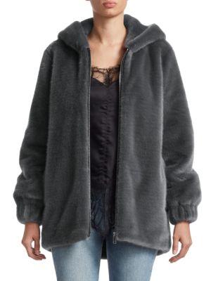 Helmut Lang Jackets Oversized Faux Fur Bomber Jacket
