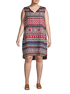 966639c052 QUICK VIEW. Beach Lunch Lounge. Plus Printed Sleeveless Shift Dress