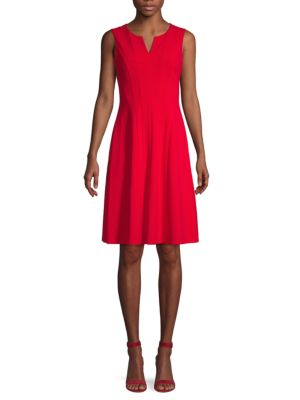 Calvin Klein Collection Stretch A-line Dress In Red