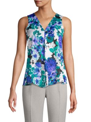 Calvin Klein Collection Pleated-Front Floral Sleeveless Top In Capri Multi