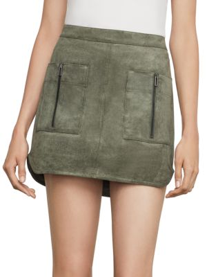 Bcbgmaxazria Patch Pocket Faux-suede Skirt In Bare Pink