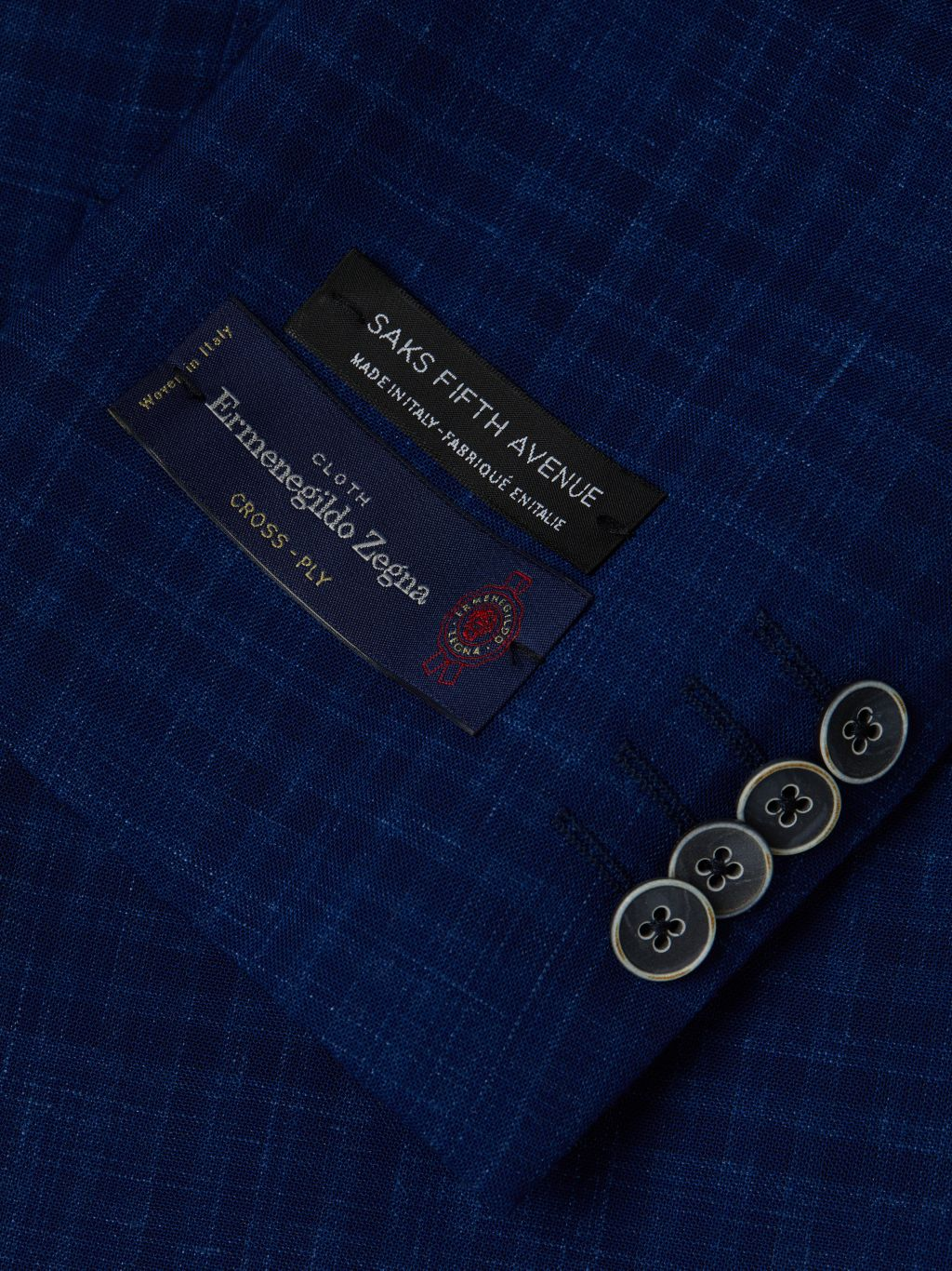 Saks Fifth Avenue Made in Italy Check Wool & Flax Sport Coat