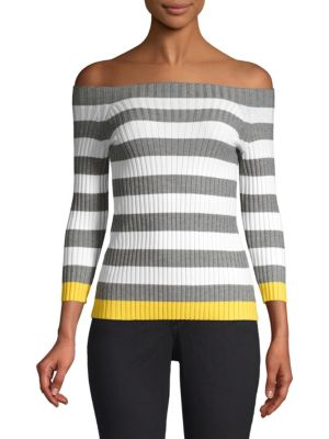 Bailey44 Sweaters Off-The-Shoudler Striped Sweater