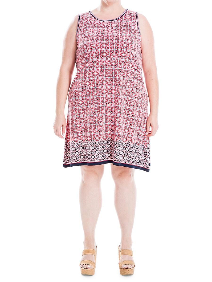 Women's Plus Sleeveless Printed Shift Dress