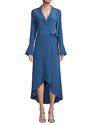 High Low Silk Wrap Dress by Equipment