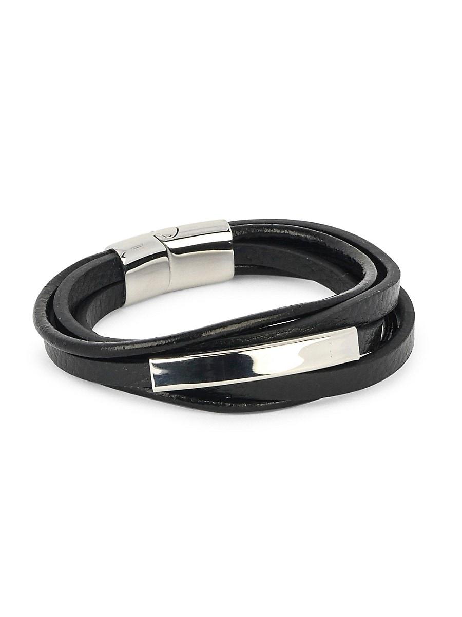 Men's Stainless Steel & Leather AdjustableDouble-Wrap Bracelet