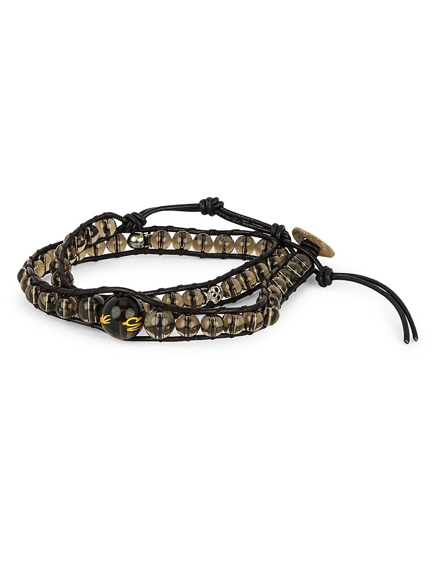 Men's Smoky Quartz Adjustable Multi-Wrap Bracelet