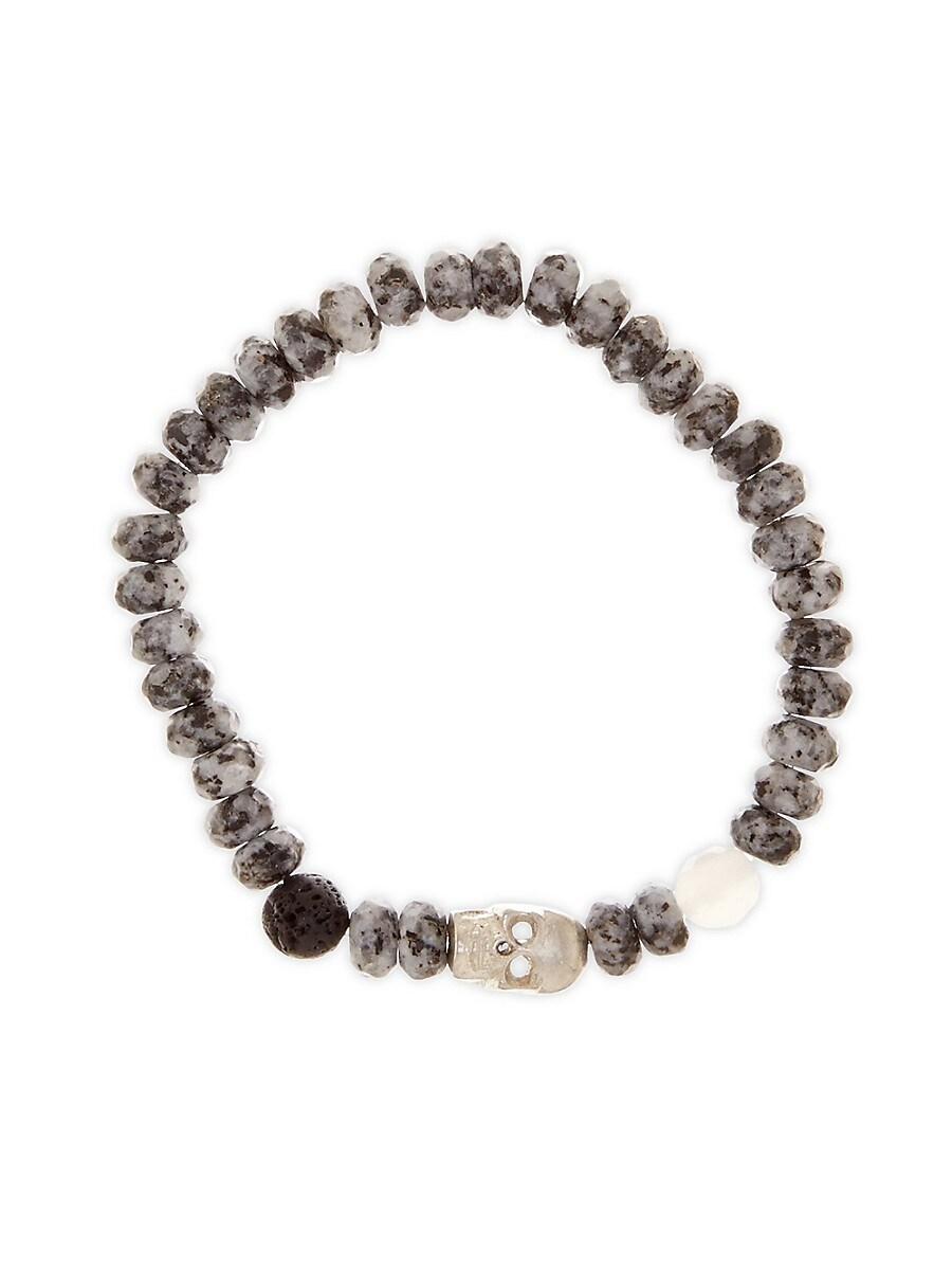 Men's Dell Arte Marble Beads Skull Bracelet