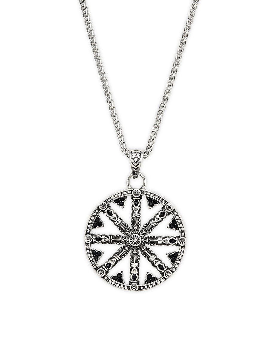 Men's Stainless Steel & Beaded Wheel Of Karma Pendant Necklace