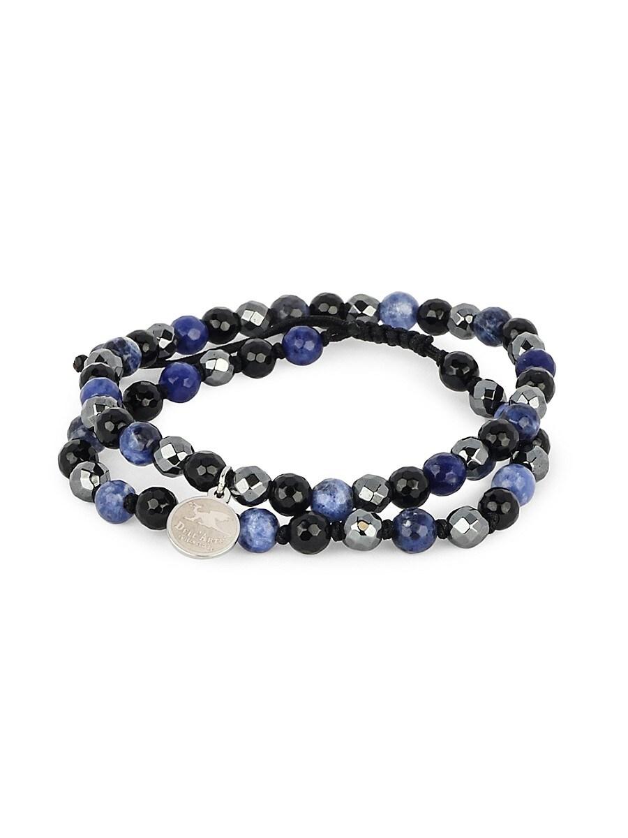 Men's Dell Arte Shamballa Stainless Steel & Multi-Stone Bead Bracelet