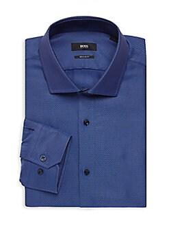 28efaa098 Regular-Fit Textured Dress Shirt MEDIUM BLUE. QUICK VIEW. Product image.  QUICK VIEW. Boss Hugo Boss