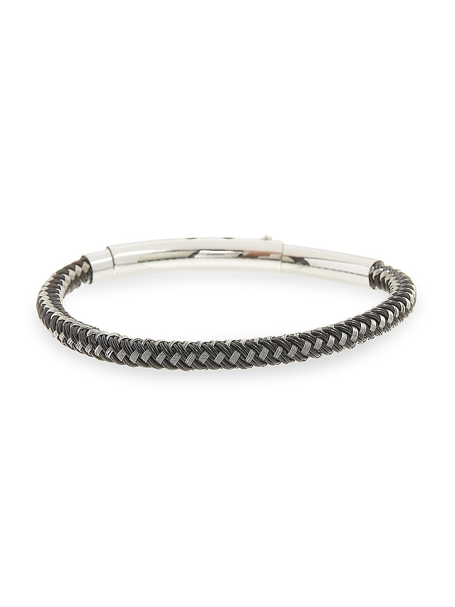 Men's Braided Leather & Stainless Steel Bracelet
