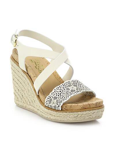 74d477e38 Salvatore Ferragamo Gioela Raffia & Leather Platform Wedge Sandals ...