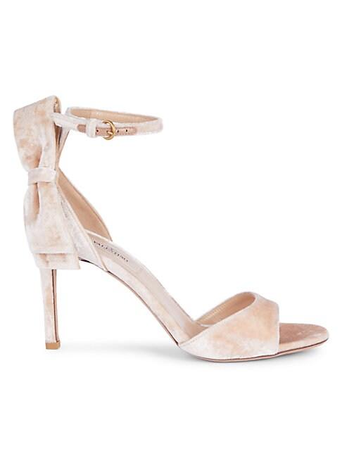 Valentino Garavani Bow Velvet Ankle-strap Sandals In Loto