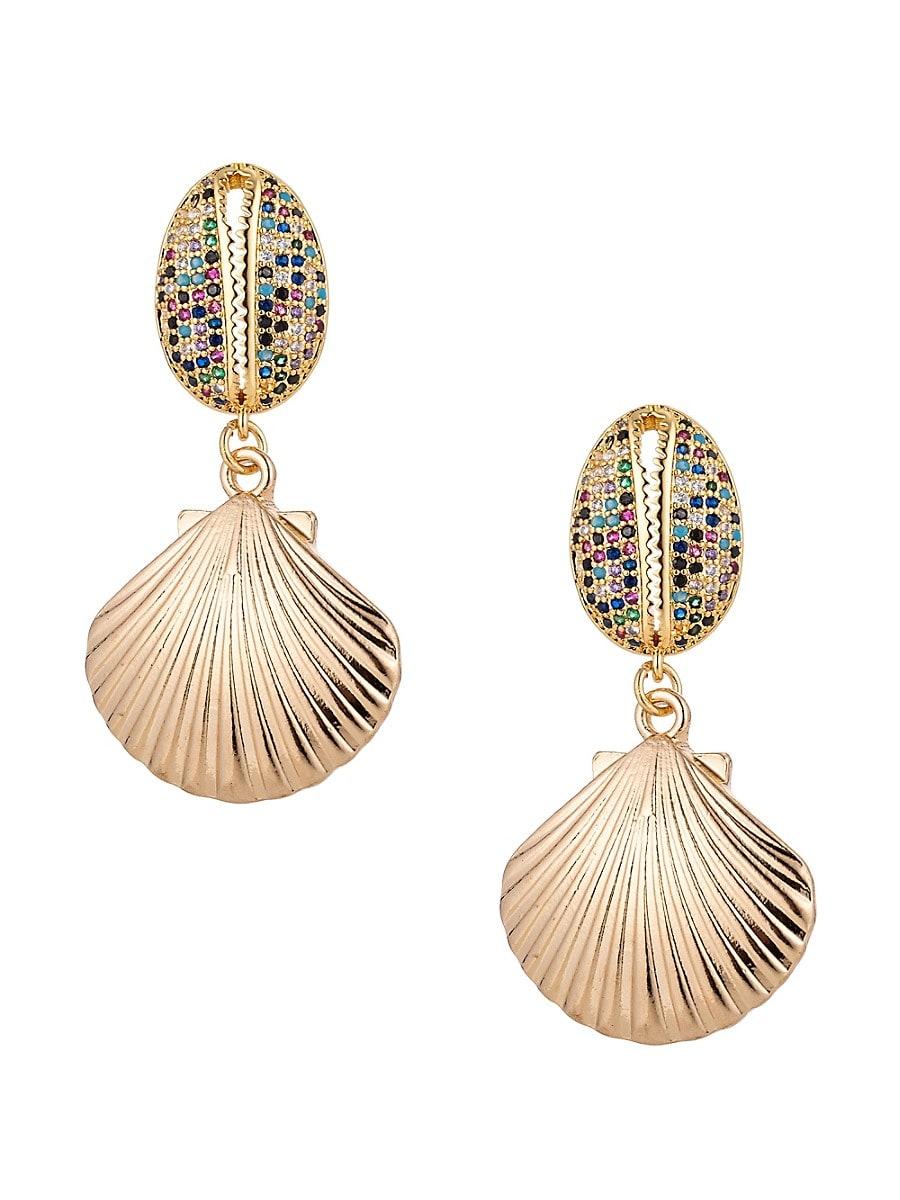 Women's Luxe Crystal Shell Drop Earrings
