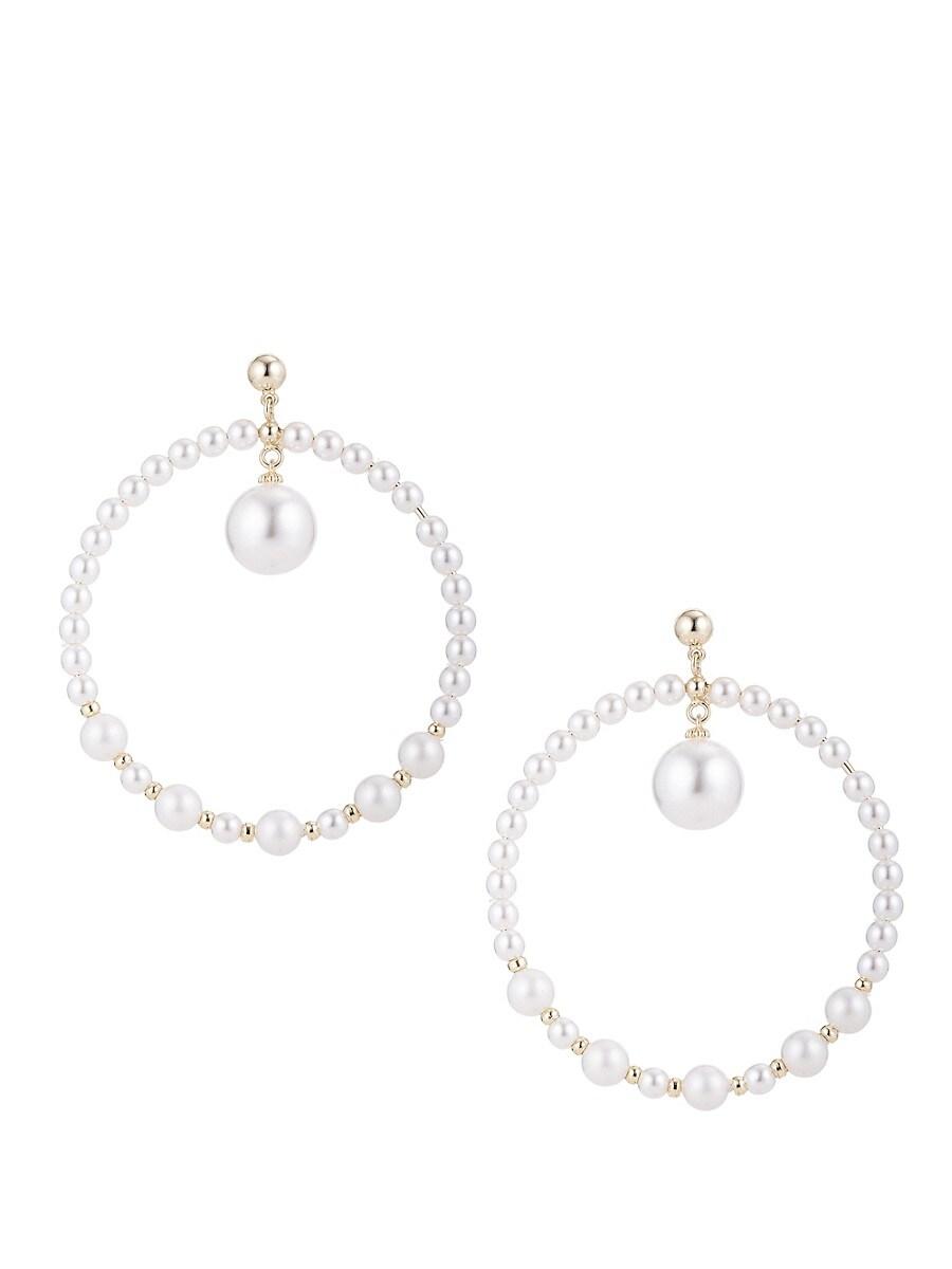 Women's Luxe Cultured Freshwater Pearl Hoop Drop Earrings