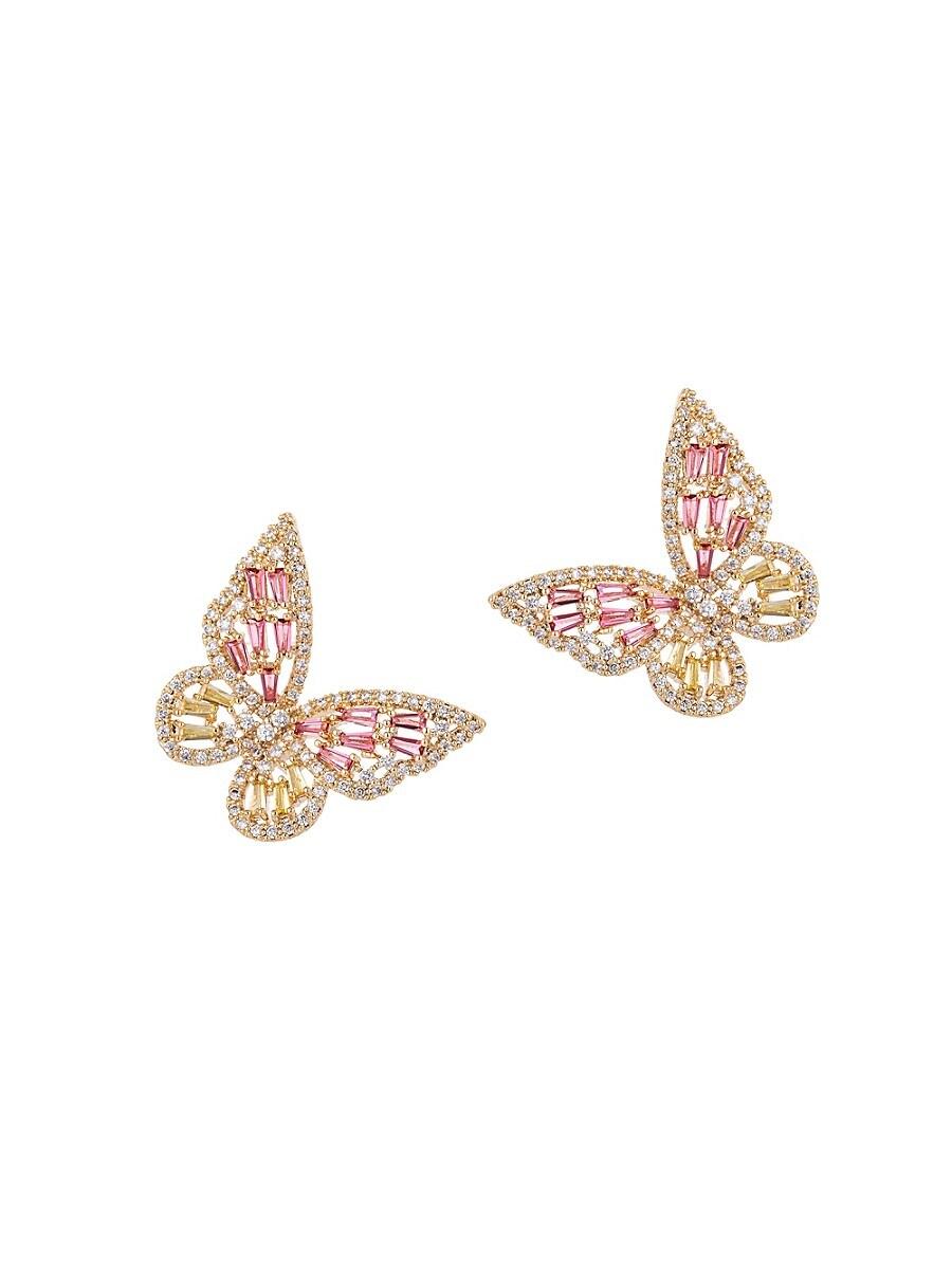 Women's Luxe Butterfly Away Crystal Dangle Earrings
