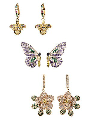 Luxe Multicolored Crystal Sweet Butterfly 3 Pair Earrings Set by Eye Candy La