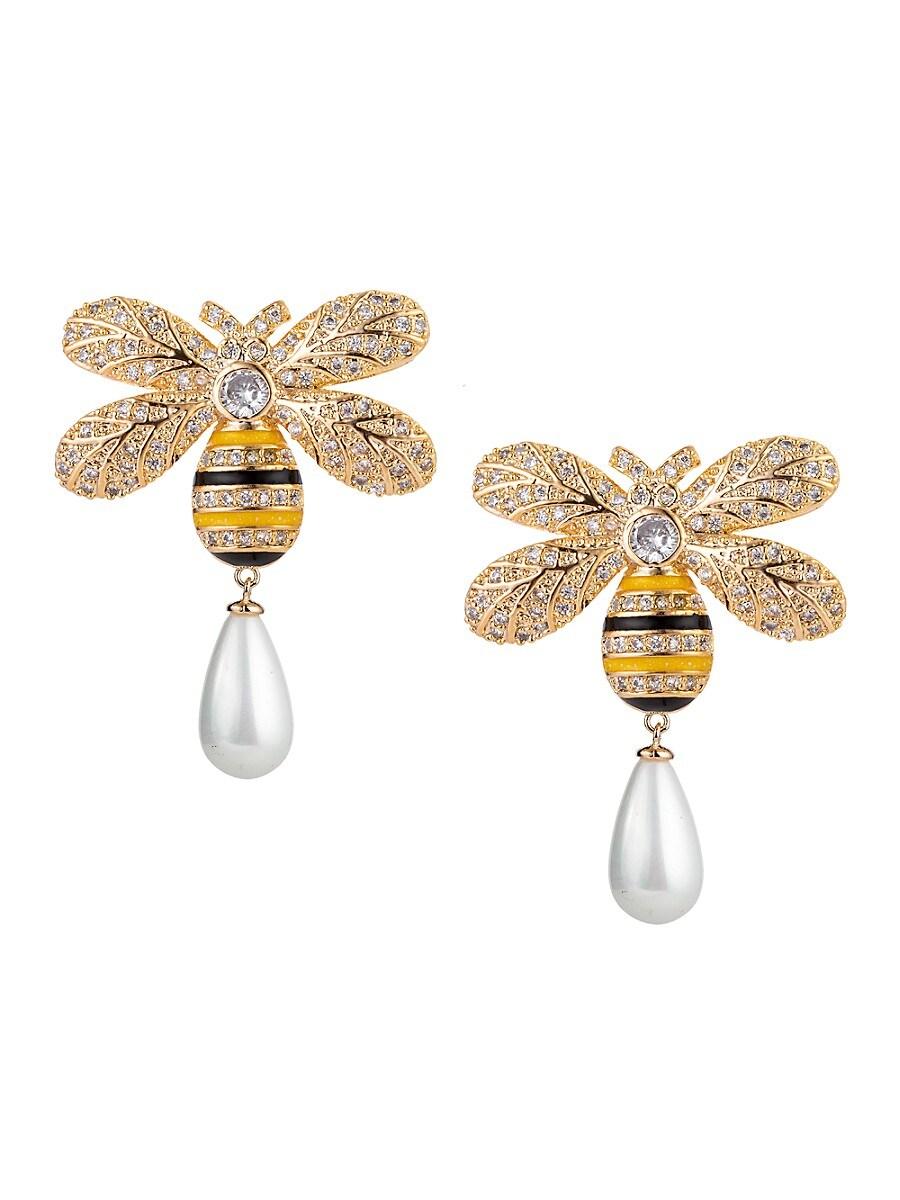 Women's Luxe Pearl & Crystal Bee Nice Stud Earrings
