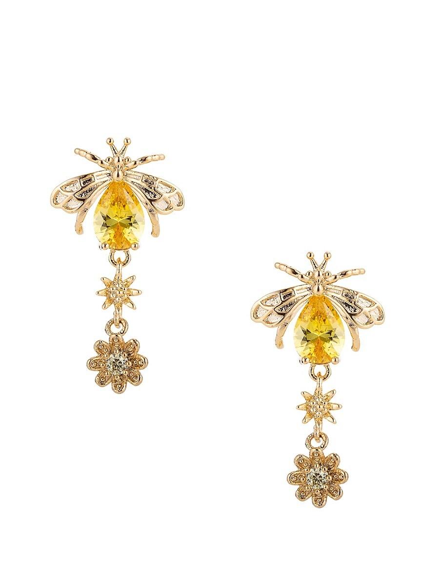 Women's Luxe Aubrey Honey Bee Crystal Drop Earrings