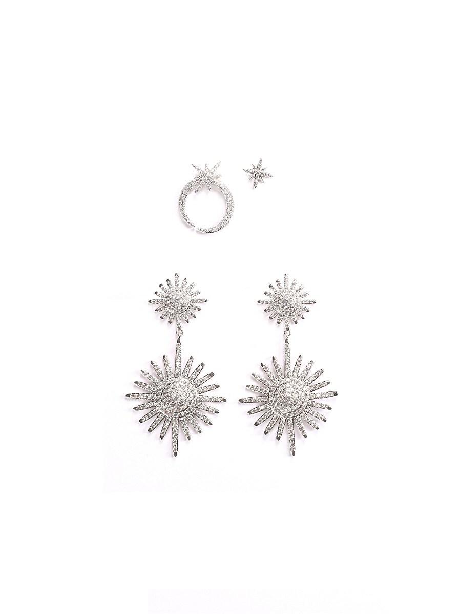 Women's Luxe Celestial 2-Pair Silvertone & Crystal Earrings Set