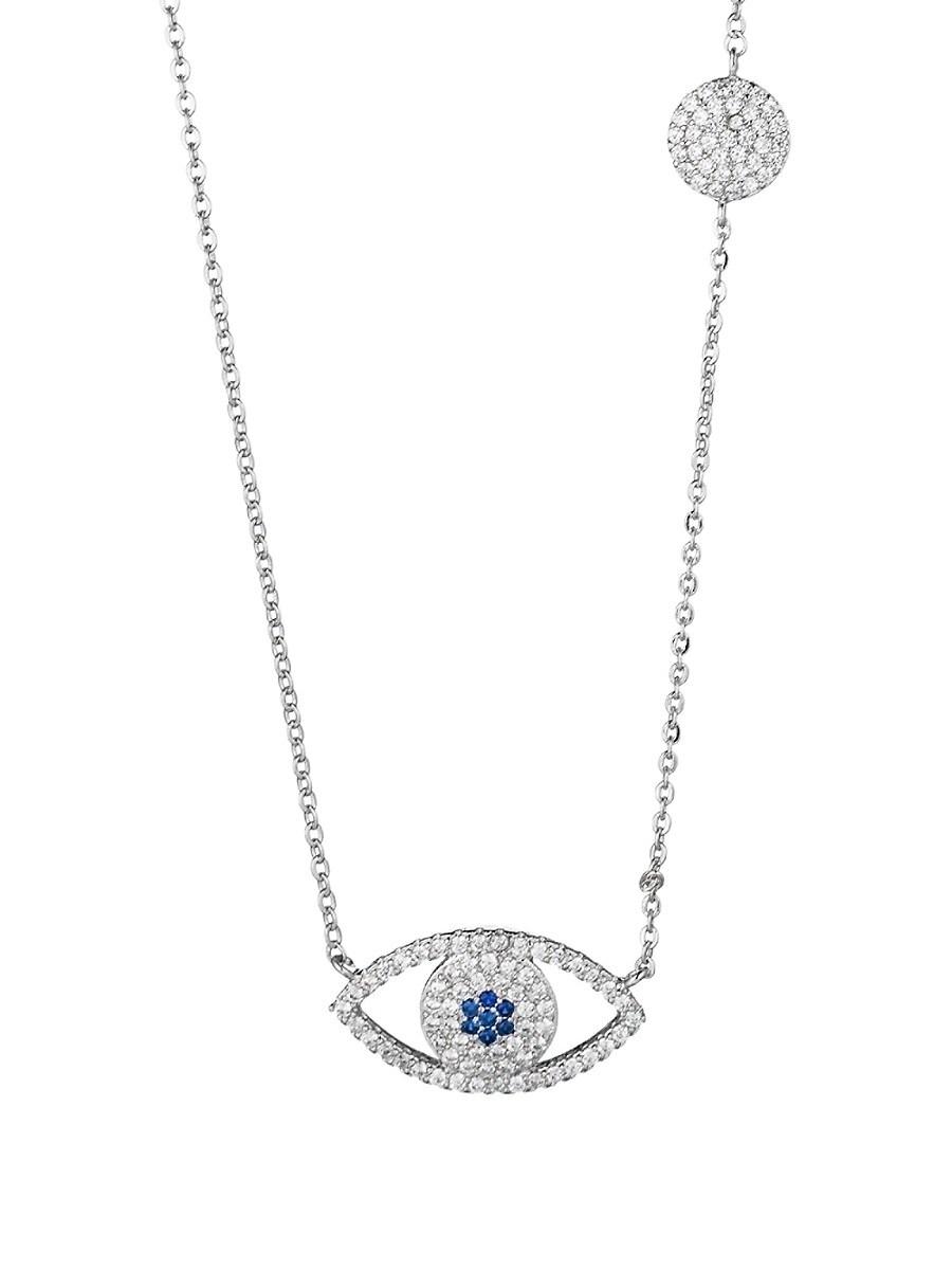 Women's Luxe Silvertone & Crystal Pendant Necklace